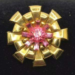 RARE RETRO Early CORO Brooch Pin Pink Paste Stones